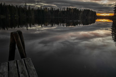 Lakeside Sunset (Ger208k) Tags: finland tampere lake lakeside jetty forest nature sunset reflections landscape gerardmcgrath