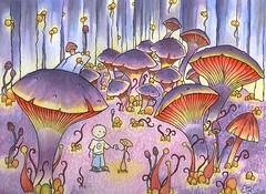 Hello there Low Rez No Watermark (Elicio Ember) Tags: watercolor originalart painting ink forsale elicio ember cerridwenscauldron mushroom fantasy