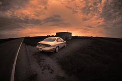 I Stopped to Take a Picture (Dave Linscheid) Tags: car automobile cloud rokinon8mmlens fisheye cementblockbuildingbutterfield watonwancounty mn minnesota usa 1996fordtaurus