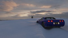 I Love the Smell of Snowbanks in the Morning (polyneutron) Tags: car chevrolet corvette retro sportcar winter morning horizon sky depthoffield