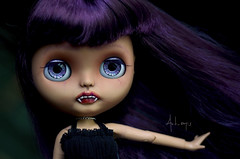 Layla (Art_emis) Tags: layla custom blythe doll ooak handmade hand painted reshaped carved mouth teeth fangs purple hair tan skin tone flexible body vampire character photography artemis art work