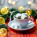 A Cup of coffee with marshmallows and garland on a Christmas background