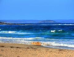 Waves and the island (elphweb) Tags: hdr highdynamicrange nsw australia beach waves sand ocean sea island rocks rocky