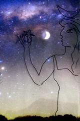 leben und sterben (lualba) Tags: halloween moon drawing luisafrancia woman
