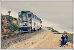 The Surfliner and The Artist (david.hayes77) Tags: pacificsurfliner ca usa california delmar artist trackside train ocean pacific amtrak 6907 surf 2010