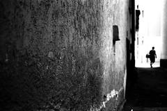 Back from shopping (Nikon F80) (stefankamert) Tags: stefankamert people noir wall tones textures blackandwhite blackwhite film analog analogue grain dark contrasts blur blurry kodak trix voigtländer ultron nikon f80 nikonf80