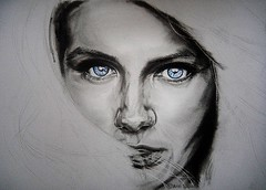 IMMORTAL (Work In Progress) (Sketchbook0918) Tags: work in progress workinprogress katebeckinsale underworld vampire immortal blue eyes selectivecoloring charcoal portrait drawing paper colorpencil fierce strong strength expressive