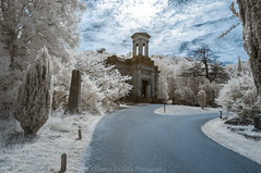 Path to the Anglican Chapel (James Etchells) Tags: arnos vale garden cemetry victorian anglican chapel infrared ir surreal landscape landscapes colour color sky clouds heritage historic bristol city urban explore exploration nikon south west england britain uk path leading lines architecture trees tree nature natural world light dark photography