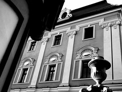 Pałac - Pieszyce. (andrzejskałuba) Tags: polska poland pieszyce dolnyśląsk silesia sudety europe panasoniclumixfz200 palace pałac dom house architecture architektura bw monochrome monument zabytek okna windows beautiful dach mur wall relief rzeżba