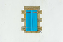 Window with a blue shutter (Jan van der Wolf) Tags: map174226ve blue blauw shutter blinden gevel gebouw symmetry symmetric symmetrie france laturballe