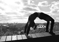 Bridges of Prague (donna.quijote...) Tags: donna woman acrobathic sport climbing parcouring blackandwhite nice beautiful notallowed people human fun