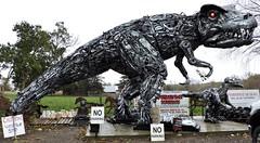 Tyrannosaurus rex; smaller dinosaur (Will S.) Tags: mypics porthope ontario canada primitivedesigns art sculpture robot autoparts