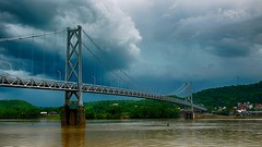 Before the downpour (jimross90) Tags: ohioriver suspensionbridge maysville kentucky ky clouds rain gray downpour weather