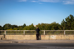 Pause (cookedphotos) Tags: 2018inpictures toronto ontario canon 5dmarkiv streetphotography 365project p3652018 bridge trees sky man pause clouds wait stop