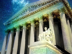 Our Vanished Dreams (Eclectic Jack) Tags: post processing deep dreams washington dc district columbia us usa supreme court justice law layer column statute sky cloud blue time timely