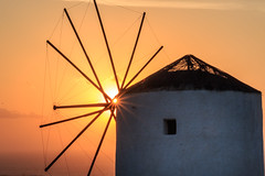 Santorini Windmill (Jos Buurmans) Tags: agriculturalbuildings architecture cyclades europe evening greece oia orange santorini southaegean southerneurope sunset thira travel windmill oía