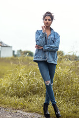 Michaela (Stacey Shay) Tags: girl woman model rural field grass nature denim boots fashion editorial fall autumn missouri photography photographer nikon 85mm staceythompsonphotography