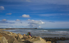 Looking Out To Sea,  Mounts Bay, Penzance, Cornwall (Steve Weaver) Tags: cornwall west kernow water sea channel english mounts bay spring sunshine blue sky clouds white rocks people surf stmichaelsmount marazion beach sands penzance colurs