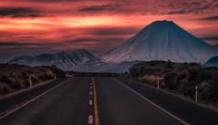 The Desert Road, North Island, New Zealand (christaff1010) Tags: sun road newzealand landscape d750 mountdoom snow panorama mountains sky sunlight hills volcano nz clouds
