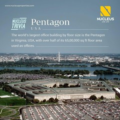 The world's largest office building by floor size is the Pentagon in Virginia, USA, with over half of its 65,00,000 sq ft floor area used as offices.   #Trivia  #Kerala #Kochi #India #LuxuryHomes #Architecture #Home  #City #Elegance #Environment #Elegant (nucleusproperties) Tags: life kochi elegant style kerala luxurylife realestate lifestyle india luxury trivia nature luxuryhomes architecture interior gorgeous design elegance environment beauty usa facts building view funfact city atmosphere home