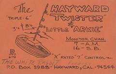 The Hayward Twister & Little Arkie - Fremont, California (73sand88s by Cardboard America) Tags: qsl cbradio vintage cb qslcard california