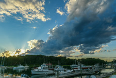 Beacon ({Brinkervelt}) Tags: kennebunkport maine sun sunlight light sky clouds boat boats harbor pier water