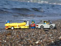 Trailer on the Beach (captain_joe) Tags: sooc toy spielzeug 365toyproject lego minifigure minifig moc car auto taucher diver schlauchboot beach strand wasser water wellen