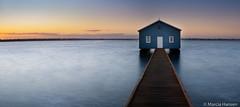 Boat House Sunrise (Marcia H) Tags: 2018 australia crawley perth westernaustralia blue boathouse boatshed spring sunrise water