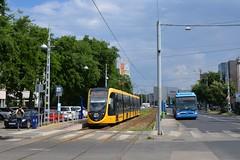 CAF Urbos 3 #2218 & Van Hool AG300 #LOV-855 (LukaszL99) Tags: tram tramwaj strasenbahn villamos caf urbos 3 bkv budapest budapeszt węgry hungary ungarn magyarország bus autobus busz van hool ag300 bruxelles bruksela brussel brussels