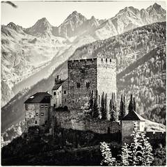 The Castle and the Mounts... (Ody on the mount) Tags: berge burglaudegg burgenundschlösser em5ii fiss hdr ladis mzuiko6028 omd olympus rahmen urlaub bw monochrome oldstyle quadratisch sw sepia österreich tirol at