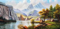 Alfheim, Art Painting / Oil Painting For Sale - Arteet™ (arteetgallery) Tags: arteet oil paintings canvas art artwork fine arts waterfall landscape water river forest tree rock lake mountain stone summer travel environment outdoor tourism sky trees rocks scenery spring outdoors mountains scenic reflection natural stream grass ecology cascade falls pond rocky tranquil wild national serene sunny fall clouds wilderness season cloud calm leaf sunlight stones valley wood landscapes surreal fantasy lakes rivers brown green paint