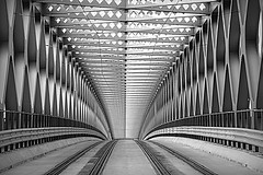 Stary most Bridge, Bratislava (Kevin Povenz Thanks for all the views and comments) Tags: 2018 october kevinpovenz europe bratislava architecture blackandwhite bw rails rail bridge transportation metal cement travel canon7dmarkii sigma24105art