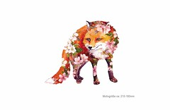 FLOWER FOX, großer Print Patch zum aufbügeln (patchmonkeys) Tags: patch bügelbild style applikation aufbügler streetwear print druck design hund kopf transfer wild