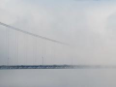 Bridge traffic driving into the abyss (Reva G) Tags: bridge fog cloud mist lionsgatebridge northshore northvancouver west vancouver weather