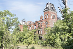 Hudson River State Hospital (Jonnie Lynn Lace) Tags: abandoned abandonne america american ruins modenruins derelict peeling paint hudson river state hospital valley hrsh kirkbride asylum insane exterior exploration colours colorful colour collapse statehospital newyork ny nikkor nikon d750 24mm decay urbex red yellow orange blue green clouds sky beautiful pretty serene solitude season nature takes over trees tree texture detail light day sun morning old building adventure history rust rural flickr digital vines summer architecture