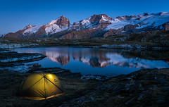 Blue hour (Julie. D) Tags: lake lac écrins meije france alpes mountain camp camping nature wild bluehour nigh night montagne reflection reflet paysage landscape alps frenchalps
