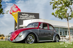 Frozen Custard (Eric Arnold Photography) Tags: vw volkswagen bug beetle type1 red gray grey low lowered neilens frozen custard icecream diner utah clouds trees malt shop chrome photoshoot feature 1966 66 neon sign neonsign