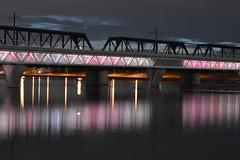 Pinkflections (jeffr71) Tags: bridge rail pink colourfusion lake water train reflection le longexposure