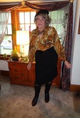 And Now For Something Completely Different (Laurette Victoria) Tags: blouse pencilskirt boots animalprint beret laurette woman