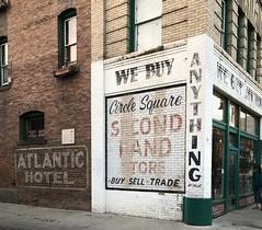 CIRCLE SQUARE SECOND HAND STORE & ATLANTIC HOTEL MISSOULA MONTANA (ussiwojima) Tags: circlesquaresecondhandstore store missoula montana painted ghost advertising sign