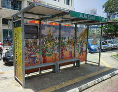 Bus stop Jalan Burma 2018 (ShambLady in Throwback times, uploading older pics) Tags: busstop bus stop jalan birma burma burmah penang gt george town georgetown pinang malaysia 2018 art illustration streetart colourful colorful roof drive by driveby 250818 aug