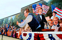 First Lincoln - Douglas Debate - Ottawa, Illinois (Cragin Spring) Tags: washingtonsquarepark lincoln debate history abelincoln abrahamlincoln president lincolndouglasdebate stephendouglas politican democrat republican firstlincolndouglasdebate presidentoftheunitedstates ottawa ottawail ottawaillinois midwest unitedstates usa unitedstatesofamerica douglas mural speech people americanflag flag argue politics