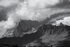 The Mountain (strachcall) Tags: sudtirol corvara landscape mountains italy hills altoadige dolomites monochrome marmolada blackwhite sky badia bw blackandwhite clouds dramatic