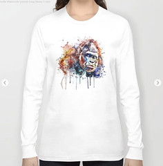 Gorilla Watercolor portrait Long Sleeve T-shirt (marianv2014) Tags: gorilla gorillas head watercolor watercolour watercolorpainting wildlife wildanimal fineart gorilladecor aquarelle wildcreature artgifts affordableart wildbeast splashes splatters drippingpaint squareformat illustration artwork art beautiful contemporary wild zoology single decor charming colorful blue red orange monkey monkeys long sleeve tshirts