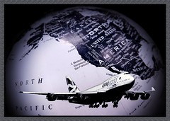 World Travel (MoparMadman63) Tags: airplane aircraft globe map creative photoshop collage frame traveling suggestive global blackandwhite