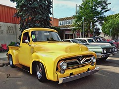 Yellow Ford (novice09) Tags: backtothefifties carshow ford pickup 1955 yellow vinci ipiccy