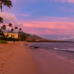 Sunset colors Kaanapali beach on Maui Hawaii thumbnail
