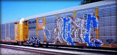 (timetomakethepasta) Tags: freight train graffiti art union pacific autorack