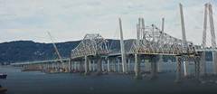 Just bits and pieces remain of the old Tappan Zee Bridge. The long causeway at left is almost gone except for a few trestles. The center span is missing its middle portion. The right side abruptly ends with rusty beams and no roadway. New York. Sept 2018 (wavz13) Tags: oldbridges vintagebridges modernbridges newbridges highways freeways hudsonvalley hudsonriver westchestercounty rocklandcounty newyorkthruway newyorkthroughway newyorkstatethruway newyorkphoto newyorkphotography highwayphotography bridgephotography newyorkphotos highwayphotos bridgephotos construction constructionsites bridgeconstruction newyorkbridges hudsonriverbridges cars infrastructure newyorkhighways traffic abandonedbridges rustybridges newyorkstate palisades palisadesmountains