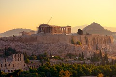 Sunrise over the Acropolis (iancowe) Tags: acropolis parthenon athens philopappos hill temple greek greece sunrise dawn morning ruin ruins ancient antiquity classical doric columns athenian athena grecian